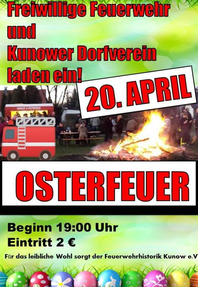 Osterfeuer in Kunow